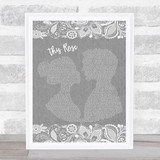 Westlife This Rose Grey Burlap & Lace Song Lyric Music Art Print