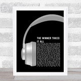 ABBA The Winner Takes It All Grey Headphones Song Lyric Music Art Print