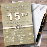 Titanium Gold And White 15Th Customised Anniversary Party Invitations