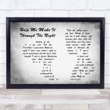 Gladys Knight Help Me Make It Through The Night Man Lady Couple Grey Song Lyric Music Art Print