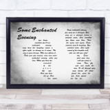 South Pacific Some Enchanted Evening Man Lady Couple Grey Song Lyric Music Art Print