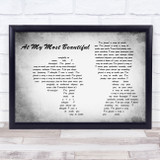 R.E.M. At My Most Beautiful Man Lady Couple Grey Song Lyric Music Art Print