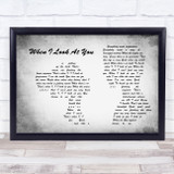 Miley Cyrus When I Look At You Man Lady Couple Grey Song Lyric Music Art Print