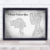 Savage Garden I Knew I Loved You Man Lady Couple Grey Song Lyric Music Art Print
