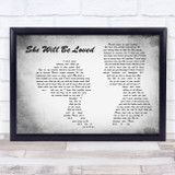 Maroon 5 She Will Be Loved Man Lady Couple Grey Song Lyric Music Art Print