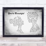 James Blunt You're Beautiful Man Lady Couple Grey Song Lyric Music Art Print