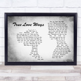 Buddy Holly True Love Ways Man Lady Couple Grey Song Lyric Music Art Print