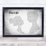 Wretch 32 Don't Go Man Lady Couple Grey Song Lyric Music Art Print