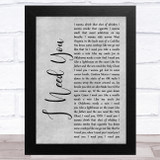 Faith Hill and Tim McGraw I Need You Grey Rustic Script Song Lyric Music Art Print