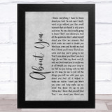 Cecilio & Kapono About You Grey Rustic Script Song Lyric Music Art Print