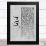 Christine and the Queens Tilted Grey Rustic Script Song Lyric Music Art Print