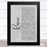 Lauren Daigle Rescue Grey Rustic Script Song Lyric Music Art Print