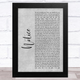 Thomas Rhett Notice Grey Rustic Script Song Lyric Music Art Print