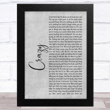 Aerosmith Crazy Grey Rustic Script Song Lyric Music Art Print