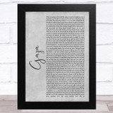 Marillion Gaza Grey Rustic Script Song Lyric Music Art Print