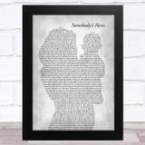 Jamie O'Neal Somebody's Hero Mother & Baby Grey Song Lyric Music Art Print
