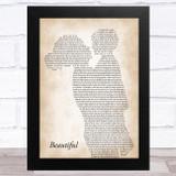 Christina Aguilera Beautiful Mother & Child Song Lyric Music Art Print