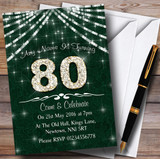 90Th Green & White Bling Sparkle Birthday Party Customised Invitations