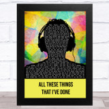 The Killers All These Things That I've Done Multicolour Man Headphones Song Lyric Music Art Print
