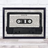 Bon Jovi It's My Life Music Script Cassette Tape Song Lyric Music Art Print