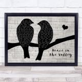 Elvis Presley Peace in the Valley Lovebirds Music Script Song Lyric Music Art Print