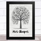Pulp Mis-Shapes Music Script Tree Song Lyric Music Art Print