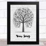 Ellie Goulding Your Song Music Script Tree Song Lyric Music Art Print