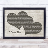 Billie Eilish I Love You Landscape Music Script Two Hearts Song Lyric Music Art Print