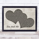 Dave Matthews Band You And Me Landscape Music Script Two Hearts Song Lyric Music Art Print