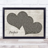 Ed Sheeran Perfect Landscape Music Script Two Hearts Song Lyric Music Art Print