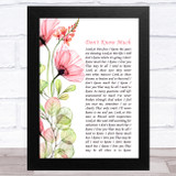 Aaron Neville and Linda Ronstadt Don't Know Much Floral Poppy Side Script Song Lyric Music Art Print