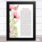 Spice Girls Mama Floral Poppy Side Script Song Lyric Music Art Print