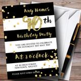 Black & White Stripy Gold Confetti 90th Customised Birthday Party Invitations