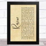 Lauren Daigle Rescue Rustic Script Song Lyric Music Art Print