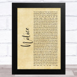 Thomas Rhett Notice Rustic Script Song Lyric Music Art Print