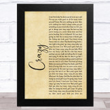 Aerosmith Crazy Rustic Script Song Lyric Music Art Print