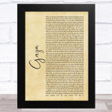 Marillion Gaza Rustic Script Song Lyric Music Art Print