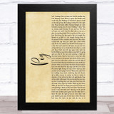 Dave Matthews Band Pig Rustic Script Song Lyric Music Art Print