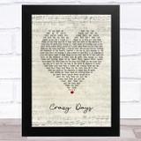 The Shires Crazy Days Script Heart Song Lyric Music Art Print