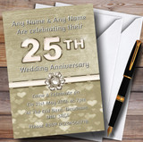 Titanium Gold And White 25Th Customised Anniversary Party Invitations