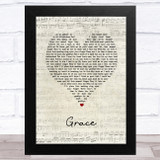 The Wolfe Tones Grace Script Heart Song Lyric Music Art Print