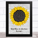 Philip Oakey & Giorgio Moroder Together in Electric Dreams Grey Script Sunflower Song Lyric Music Art Print