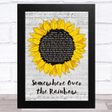 Israel Kamakawiwo'ole Somewhere Over the Rainbow Grey Script Sunflower Song Lyric Music Art Print