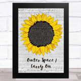 5 Seconds of Summer Outer Space - Carry On Grey Script Sunflower Song Lyric Music Art Print