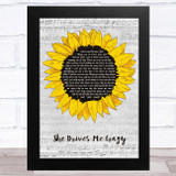 Fine Young Cannibals She Drives Me Crazy Grey Script Sunflower Song Lyric Music Art Print