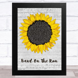 Paul McCartney & Wings Band On The Run Grey Script Sunflower Song Lyric Music Art Print