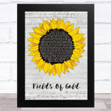 Eva Cassidy Fields Of Gold Grey Script Sunflower Song Lyric Music Art Print