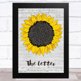 Macy Gray The Letter Grey Script Sunflower Song Lyric Music Art Print