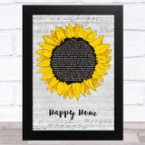 The Housemartins Happy Hour Grey Script Sunflower Song Lyric Music Art Print