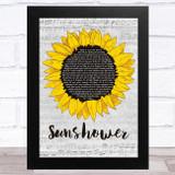 Chris Cornell Sunshower Grey Script Sunflower Song Lyric Music Art Print